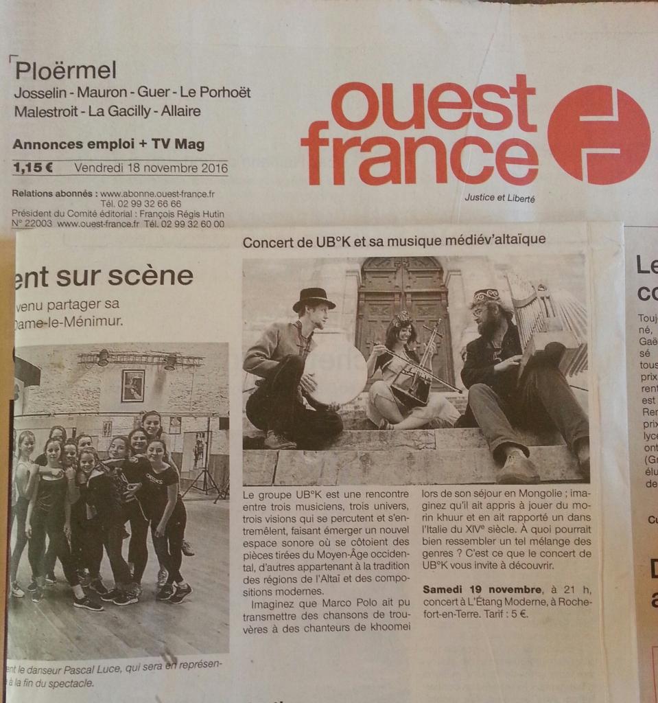 Ouest France Concert du 19 novembre 2016